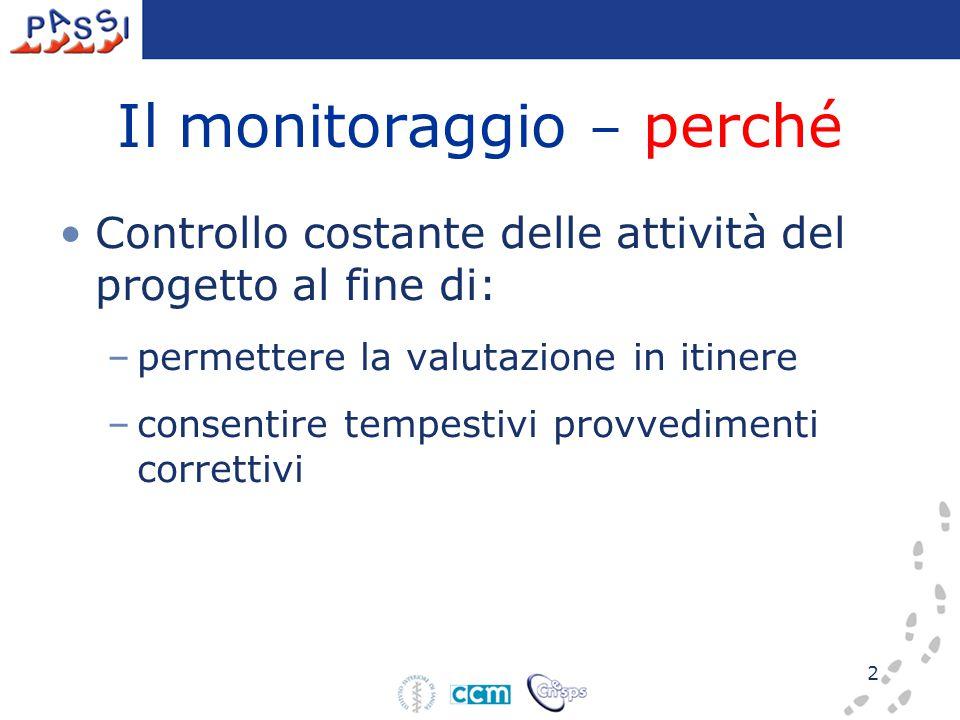 2 Il monitoraggio – perché Controllo costante delle attività del progetto al fine di: –permettere la valutazione in itinere –consentire tempestivi pro