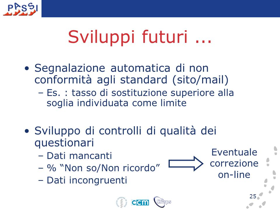 25 Sviluppi futuri... Segnalazione automatica di non conformità agli standard (sito/mail) –Es. : tasso di sostituzione superiore alla soglia individua
