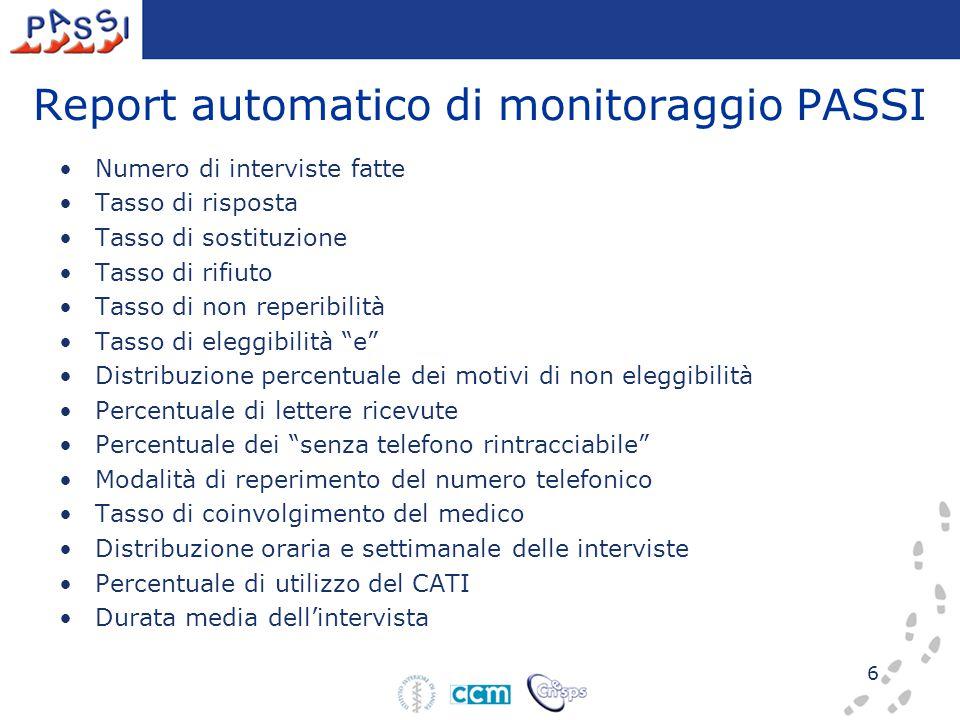 6 Report automatico di monitoraggio PASSI Numero di interviste fatte Tasso di risposta Tasso di sostituzione Tasso di rifiuto Tasso di non reperibilit