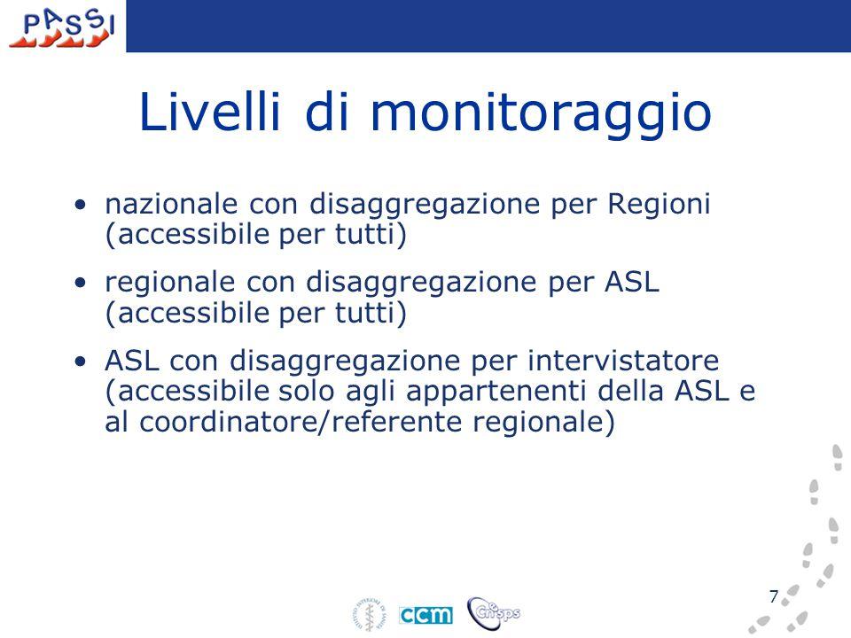 7 Livelli di monitoraggio nazionale con disaggregazione per Regioni (accessibile per tutti) regionale con disaggregazione per ASL (accessibile per tutti) ASL con disaggregazione per intervistatore (accessibile solo agli appartenenti della ASL e al coordinatore/referente regionale)