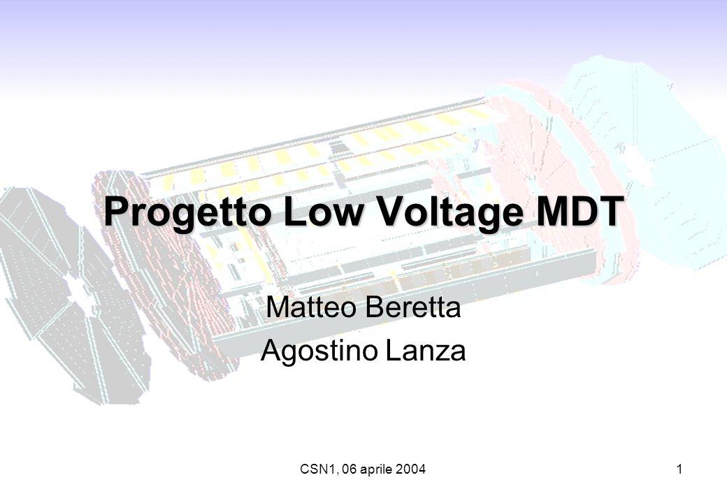 CSN1, 06 aprile 20041 Progetto Low Voltage MDT Matteo Beretta Agostino Lanza