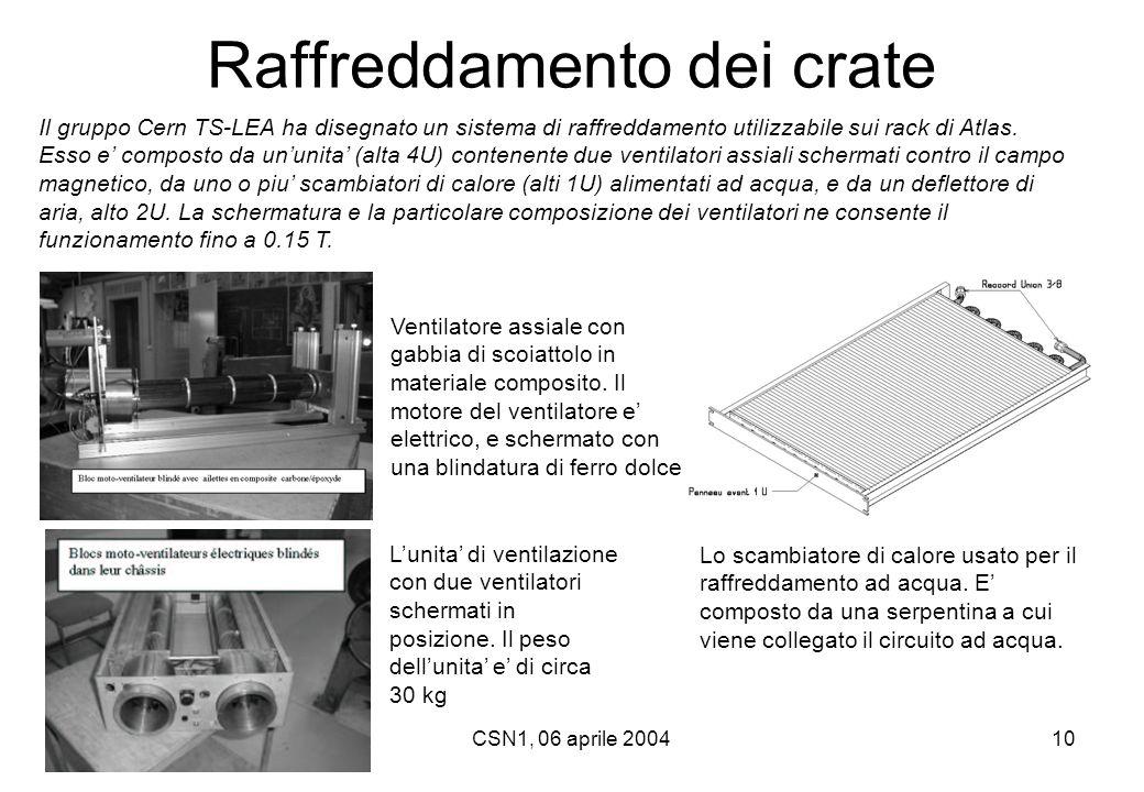 CSN1, 06 aprile 200410 Raffreddamento dei crate Il gruppo Cern TS-LEA ha disegnato un sistema di raffreddamento utilizzabile sui rack di Atlas. Esso e
