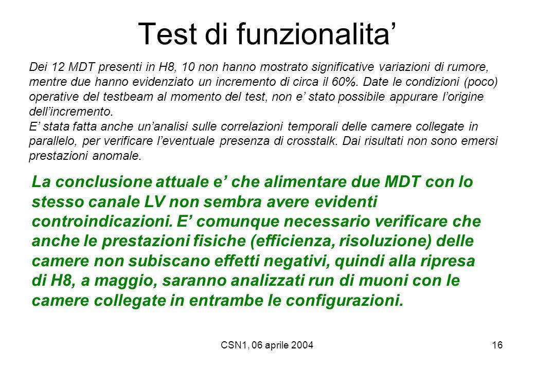 CSN1, 06 aprile 200416 Test di funzionalita' La conclusione attuale e' che alimentare due MDT con lo stesso canale LV non sembra avere evidenti contro
