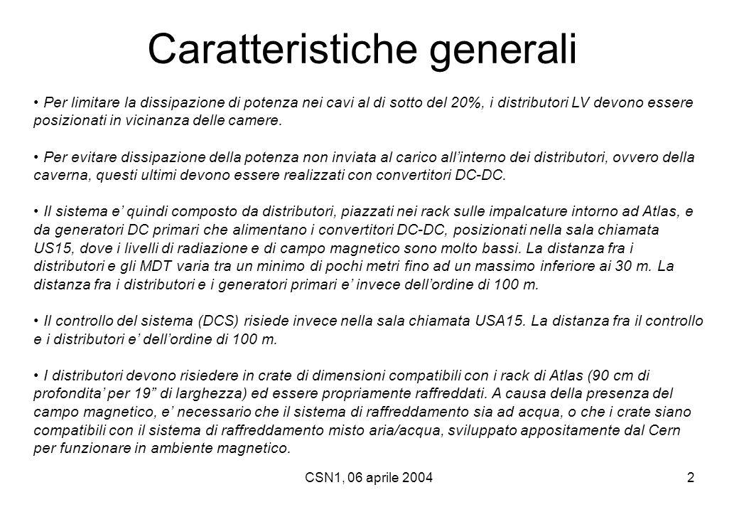 CSN1, 06 aprile 20042 Caratteristiche generali Per limitare la dissipazione di potenza nei cavi al di sotto del 20%, i distributori LV devono essere p