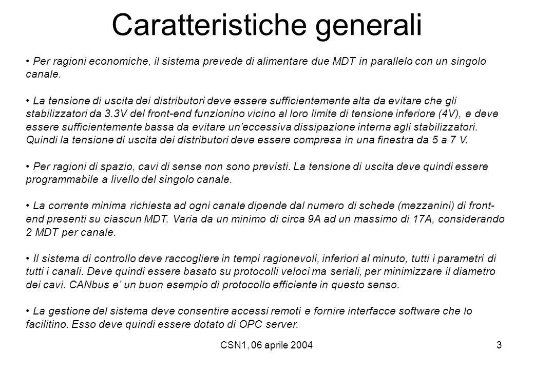 CSN1, 06 aprile 20044 Potenza dissipata  Gli MDT da alimentare sono 1168, suddivisi in 656 nel Barrel (8054 mezzanini di front-end) e 512 negli Endcap (6760 mezzanini di front-end).