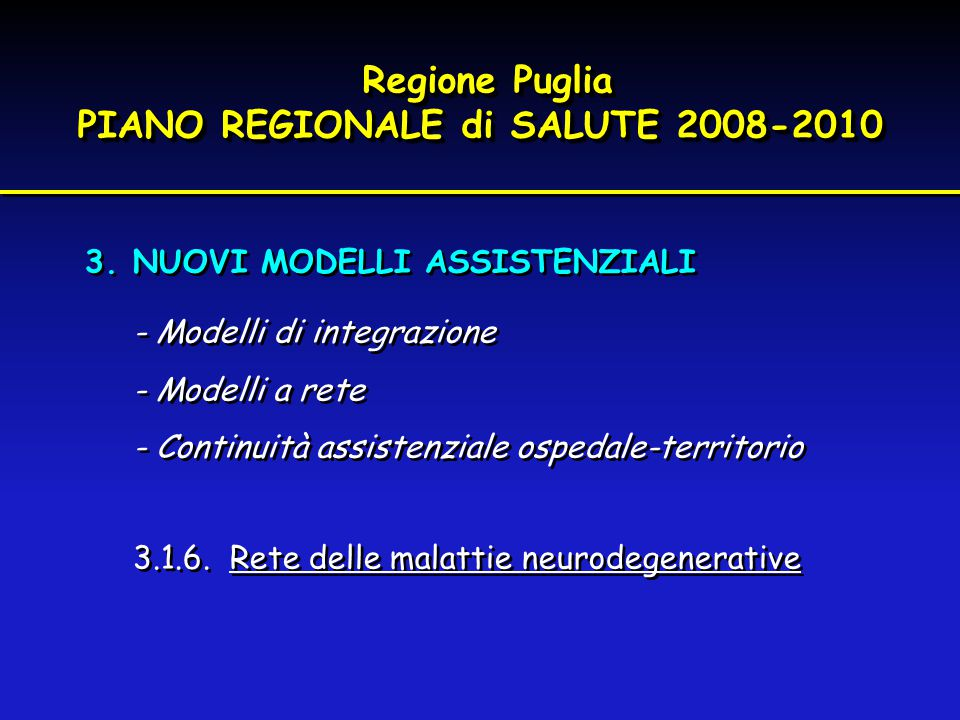 Regione Puglia PIANO REGIONALE di SALUTE 2008-2010 Regione Puglia PIANO REGIONALE di SALUTE 2008-2010 3.NUOVI MODELLI ASSISTENZIALI - Modelli di integ