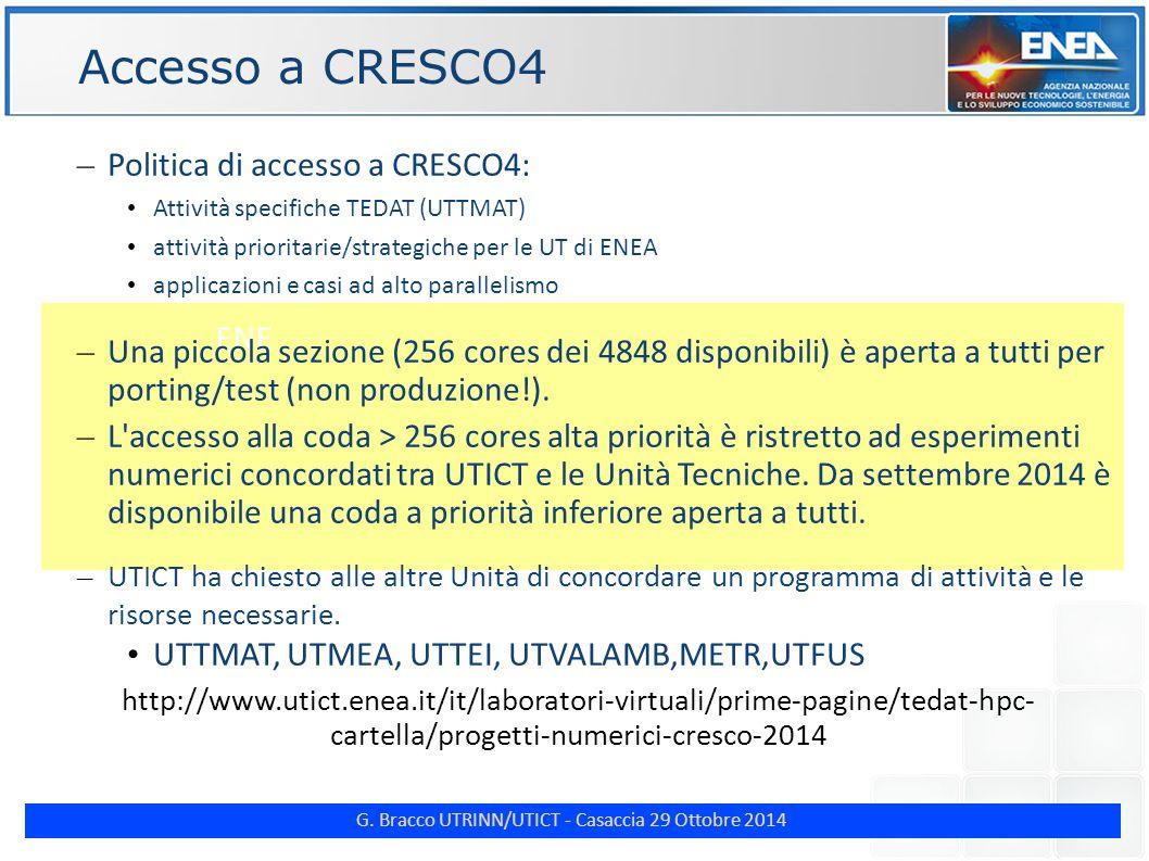 G. Bracco UTRINN/UTICT - Casaccia 29 Ottobre 2014 ENE Accesso a CRESCO4 – Politica di accesso a CRESCO4: Attività specifiche TEDAT (UTTMAT) attività p