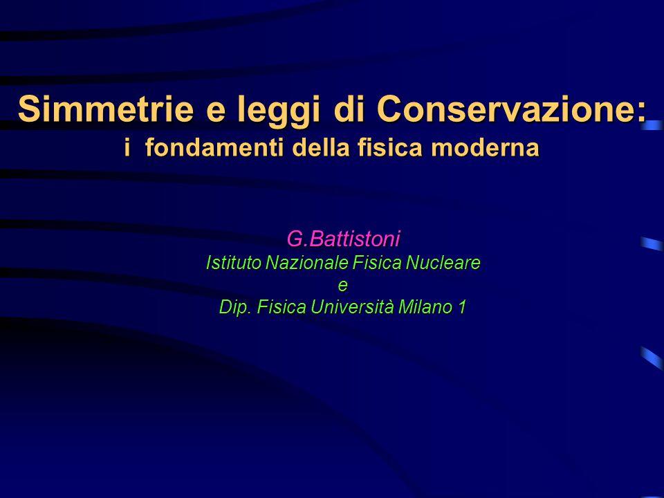 Simmetrie e leggi di Conservazione: i fondamenti della fisica moderna G.Battistoni Istituto Nazionale Fisica Nucleare e Dip.