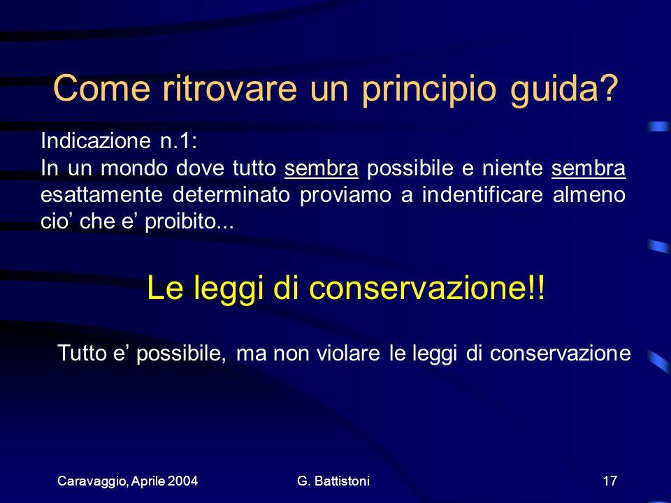 Caravaggio, Aprile 2004 G. Battistoni 17 Come ritrovare un principio guida.