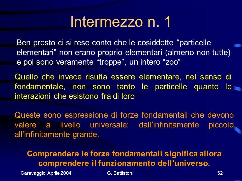 Caravaggio, Aprile 2004 G. Battistoni 32 Intermezzo n.