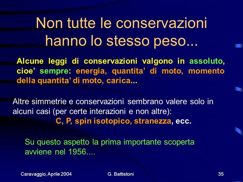Caravaggio, Aprile 2004 G. Battistoni 35 Non tutte le conservazioni hanno lo stesso peso...