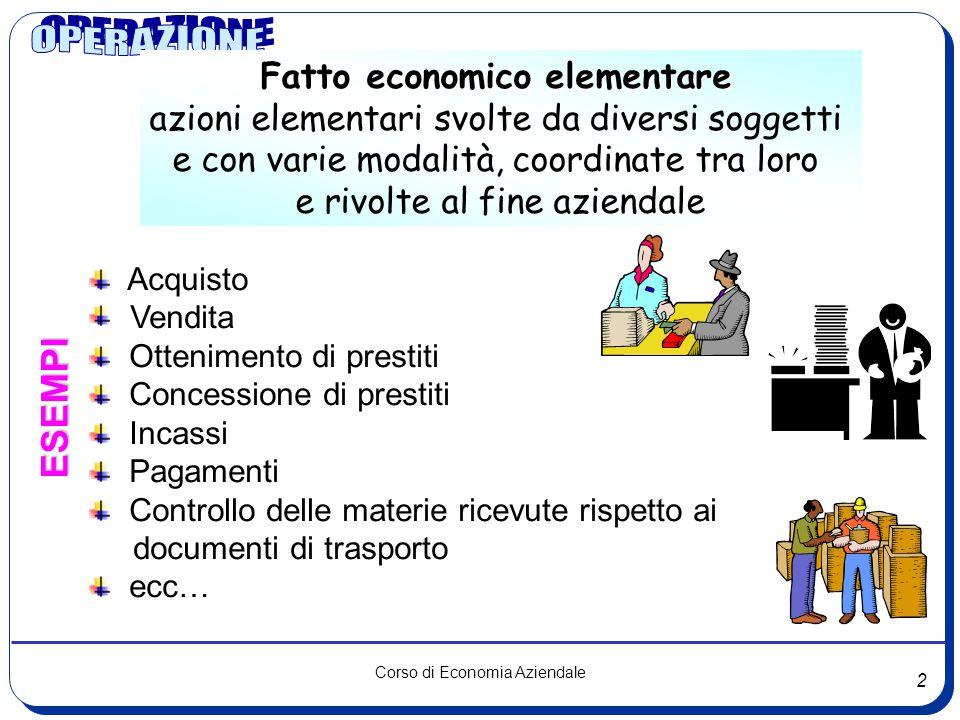 1 Corso di Economia Aziendale Il sistema delle operazioni aziendali