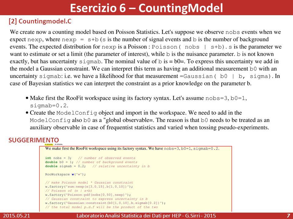 Esercizio 6 – CountingModel 2015.05.21Laboratorio Analisi Statistica dei Dati per HEP - G.Sirri - 20157 [2] Countingmodel.C SUGGERIMENTO