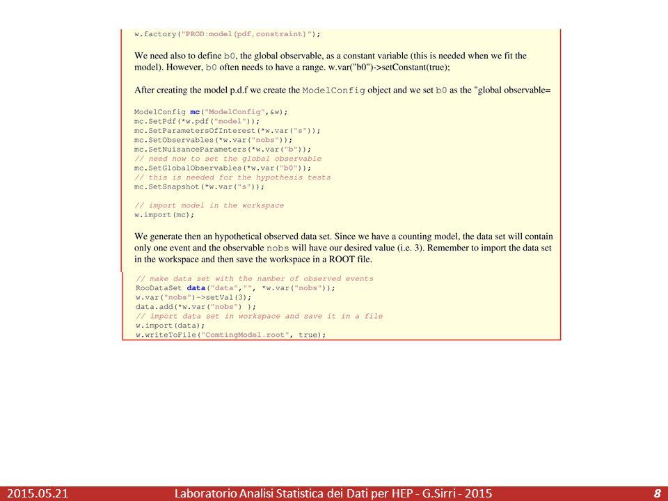 2015.05.21Laboratorio Analisi Statistica dei Dati per HEP - G.Sirri - 20158