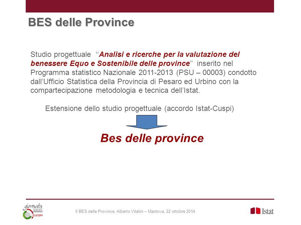 BES delle Province Studio progettuale ''Analisi e ricerche per la valutazione del benessere Equo e Sostenibile delle province'' inserito nel Programma statistico Nazionale 2011-2013 (PSU – 00003) condotto dall'Ufficio Statistica della Provincia di Pesaro ed Urbino con la compartecipazione metodologia e tecnica dell'Istat.