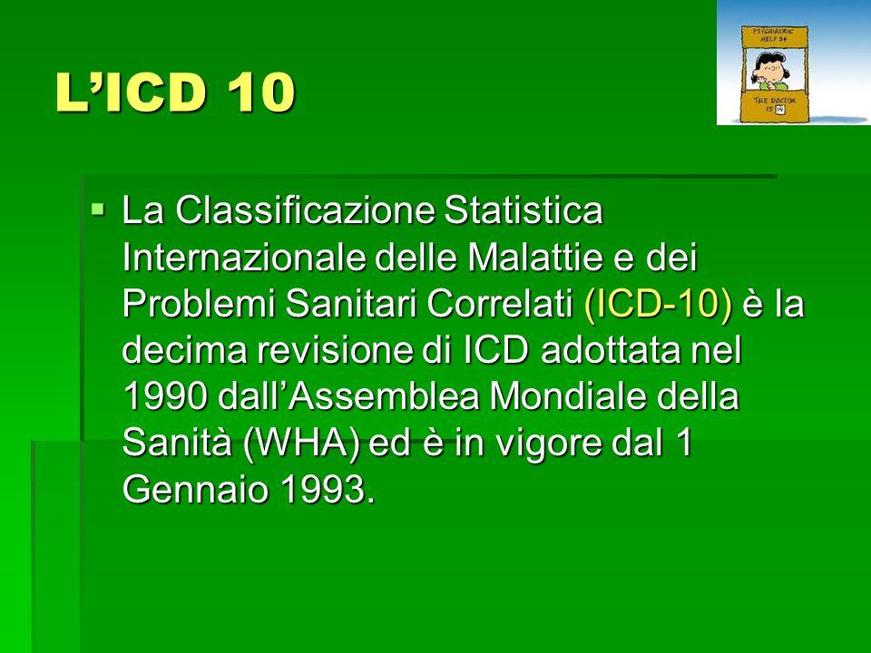 L'ICD 10  La Classificazione Statistica Internazionale delle Malattie e dei Problemi Sanitari Correlati (ICD-10) è la decima revisione di ICD adottata nel 1990 dall'Assemblea Mondiale della Sanità (WHA) ed è in vigore dal 1 Gennaio 1993.