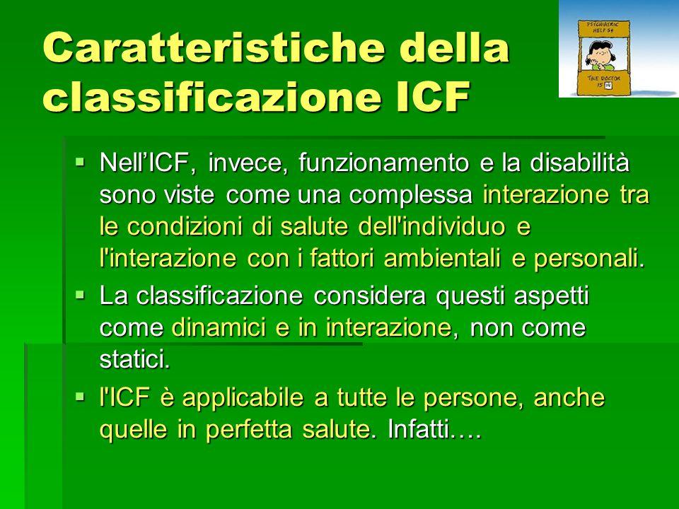 Caratteristiche della classificazione ICF  Nell'ICF, invece, funzionamento e la disabilità sono viste come una complessa interazione tra le condizioni di salute dell individuo e l interazione con i fattori ambientali e personali.