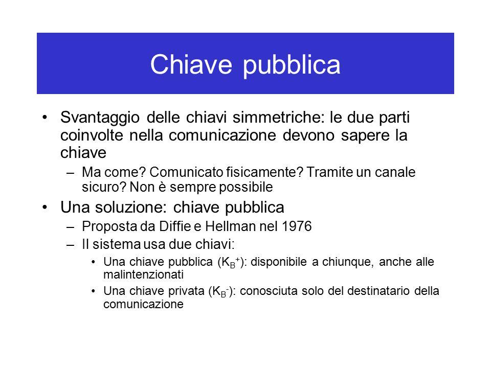 Chiave pubblica Svantaggio delle chiavi simmetriche: le due parti coinvolte nella comunicazione devono sapere la chiave –Ma come.