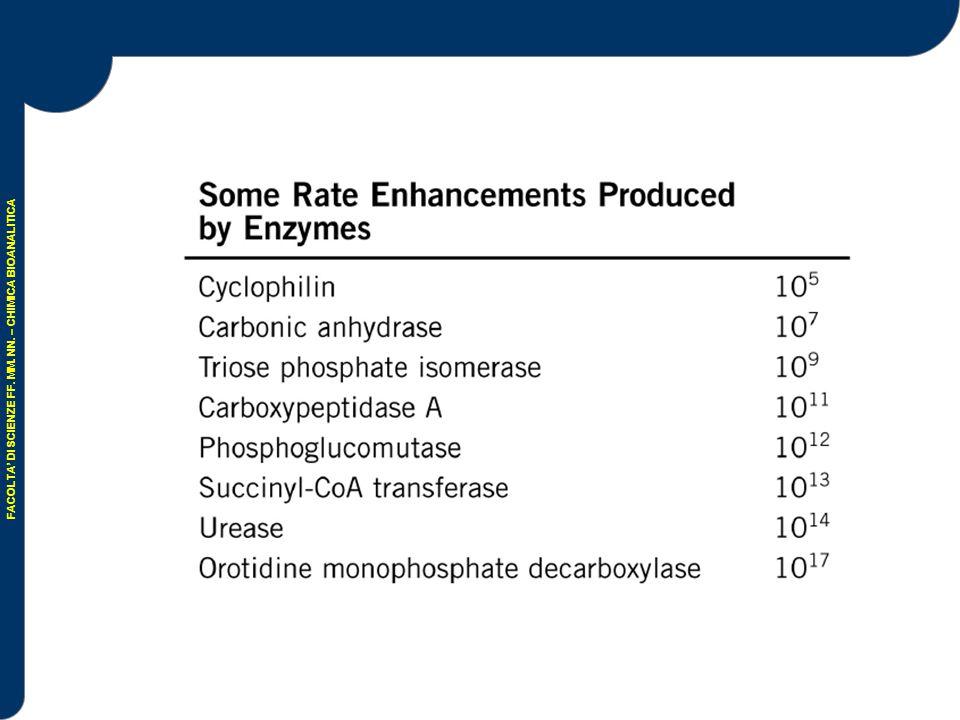 ISOENZIMI Gli enzimi non hanno una struttura omogenea Isoenzimi: proteine che catalizzano la stessa reazione e presentano diverse proprietà molecolari (diversa carica elettrica, diversa solubilità, diversa resistenza ad agenti chimici e fisici) e/o diverse proprietà funzionali presentano differenze in termini di pH ottimale, affinità per substrato e coenzima…..