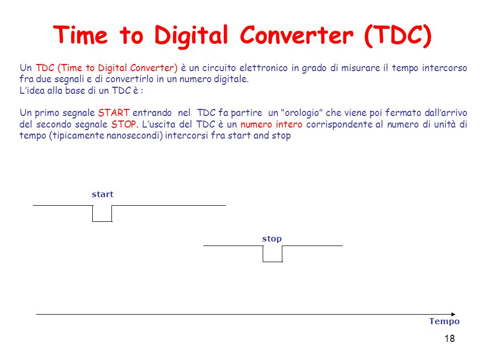 Time to Digital Converter (TDC) Tempo start stop Un TDC (Time to Digital Converter) è un circuito elettronico in grado di misurare il tempo intercorso