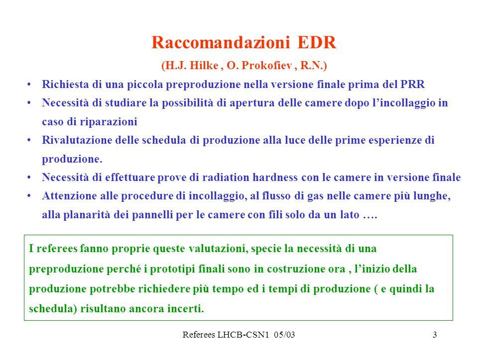 Referees LHCB-CSN1 05/033 Raccomandazioni EDR (H.J. Hilke, O. Prokofiev, R.N.) Richiesta di una piccola preproduzione nella versione finale prima del