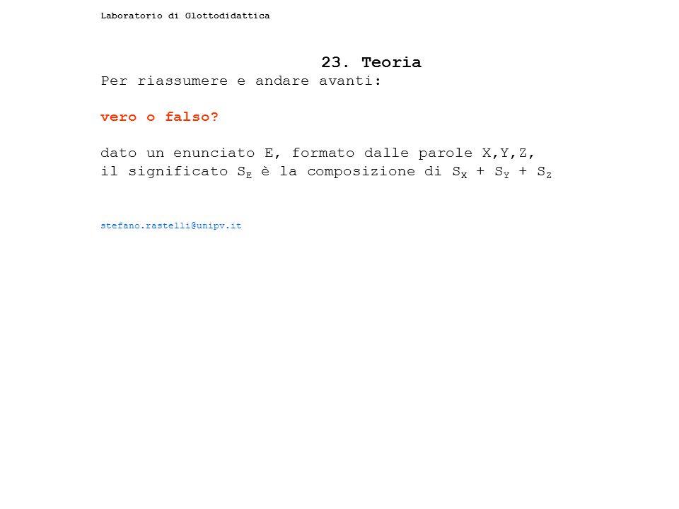 Laboratorio di Glottodidattica 23. Teoria Per riassumere e andare avanti: vero o falso? dato un enunciato E, formato dalle parole X,Y,Z, il significat