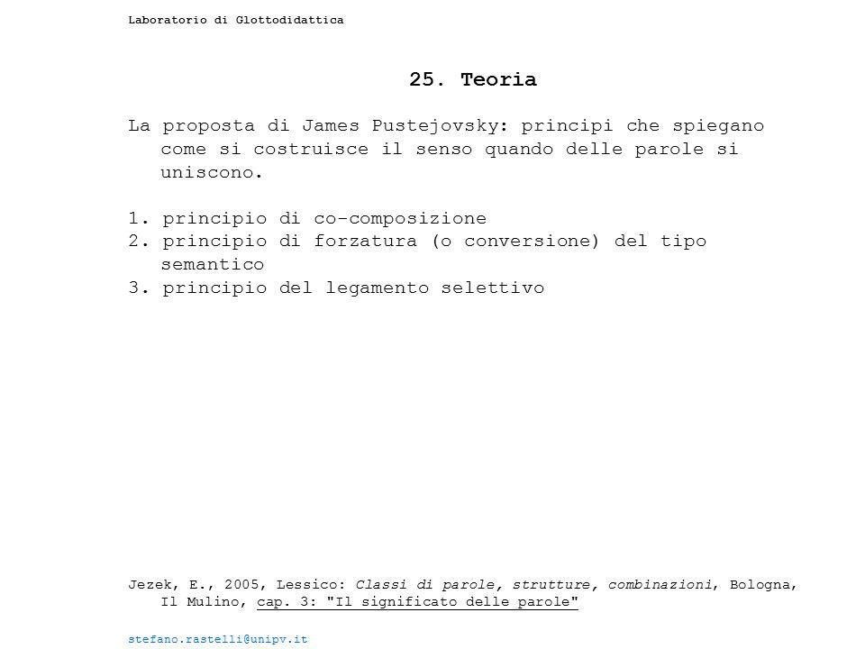 Laboratorio di Glottodidattica 25. Teoria La proposta di James Pustejovsky: principi che spiegano come si costruisce il senso quando delle parole si u