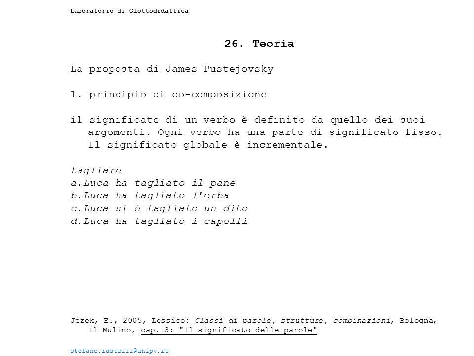 Laboratorio di Glottodidattica 26. Teoria La proposta di James Pustejovsky 1. principio di co-composizione il significato di un verbo è definito da qu
