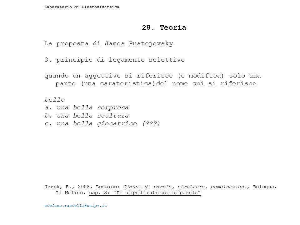 Laboratorio di Glottodidattica 28. Teoria La proposta di James Pustejovsky 3. principio di legamento selettivo quando un aggettivo si riferisce (e mod