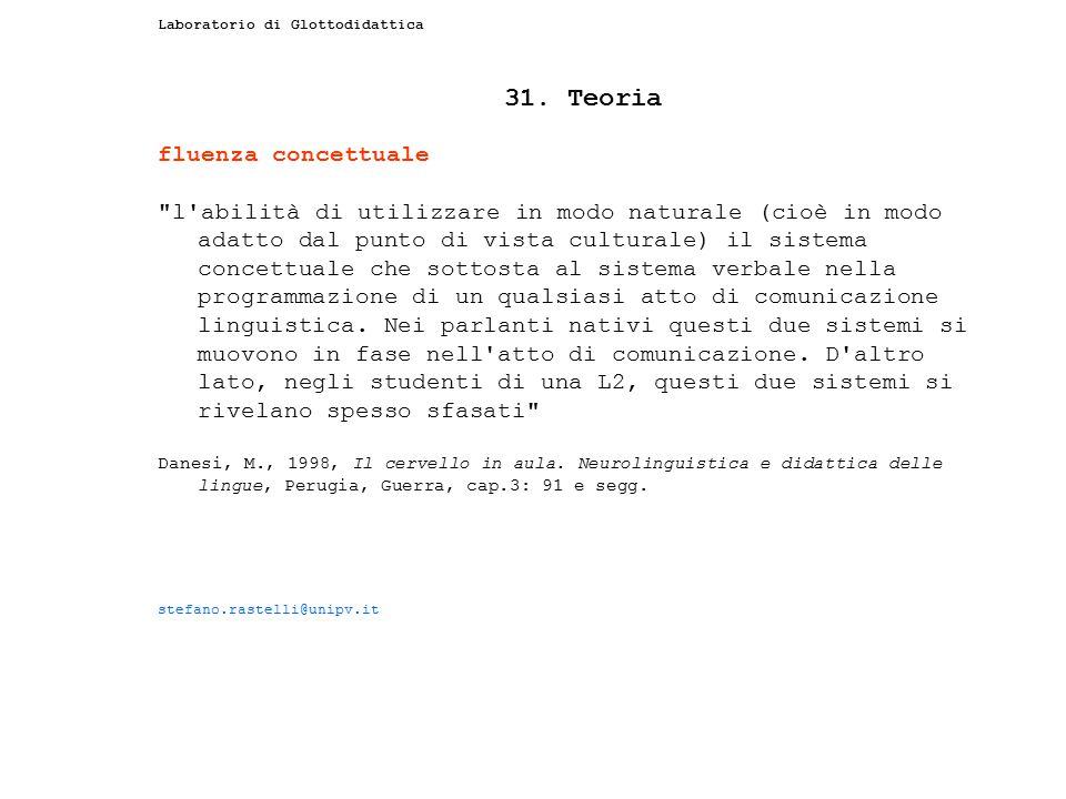 Laboratorio di Glottodidattica 31. Teoria fluenza concettuale
