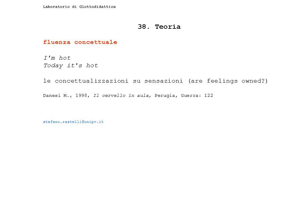 Laboratorio di Glottodidattica 38. Teoria fluenza concettuale I'm hot Today it's hot le concettualizzazioni su sensazioni (are feelings owned?) Danesi