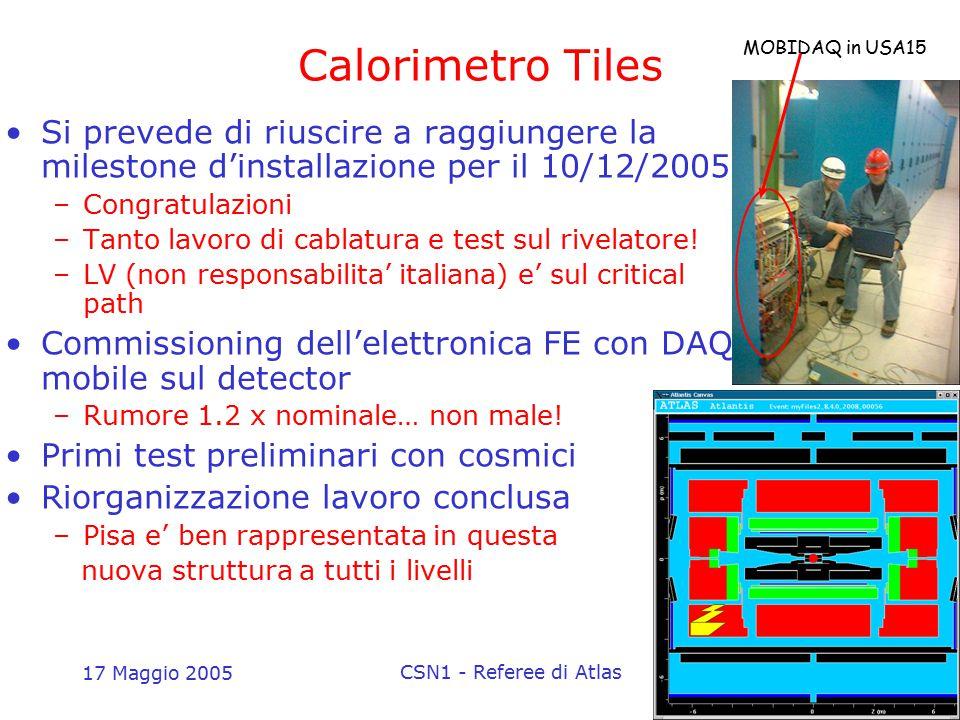 17 Maggio 2005 CSN1 - Referee di Atlas4 Calorimetro Tiles Attività a Pisa –Test stabilità lungo termine PMT In corso –Varie attivita' di analisi Ottimizzazione G4 su dati test beam Ottimizzazione risoluzione energia jets Monitor on-line a basso livello Simulazioni di trigger e analisi Higgs