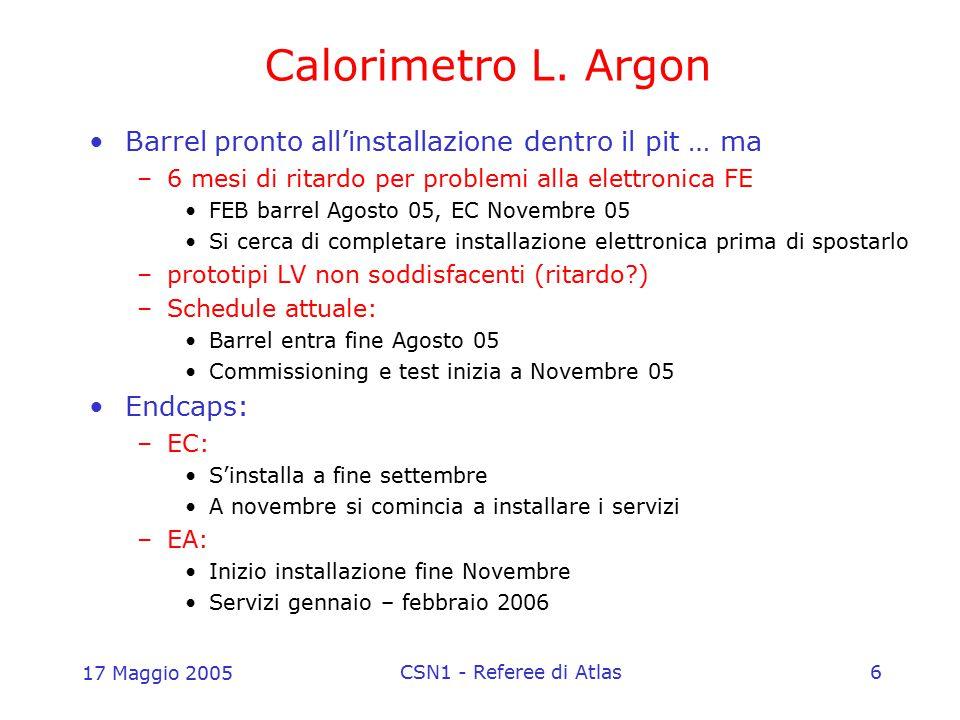 17 Maggio 2005 CSN1 - Referee di Atlas6 Calorimetro L. Argon Barrel pronto all'installazione dentro il pit … ma –6 mesi di ritardo per problemi alla e