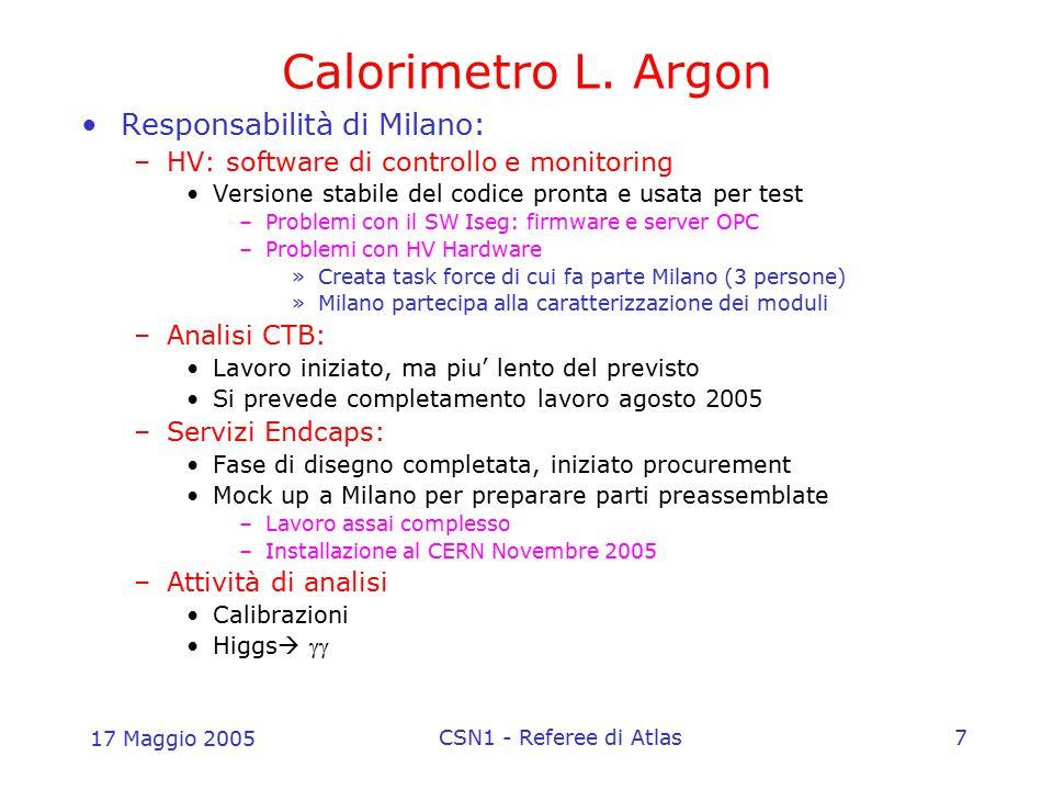 17 Maggio 2005 CSN1 - Referee di Atlas7 Calorimetro L. Argon Responsabilità di Milano: –HV: software di controllo e monitoring Versione stabile del co