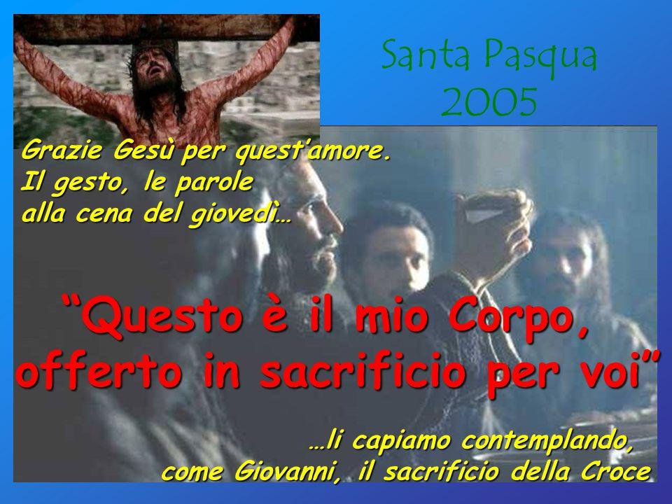 Santa Pasqua 2005 Questo è il mio Corpo, offerto in sacrificio per voi …li capiamo contemplando, come Giovanni, il sacrificio della Croce Grazie Gesù per quest'amore.