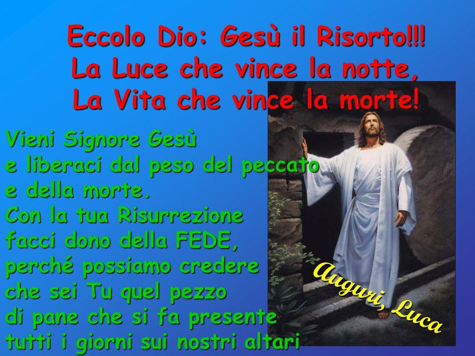 Eccolo Dio: Gesù il Risorto!!. La Luce che vince la notte, La Vita che vince la morte.