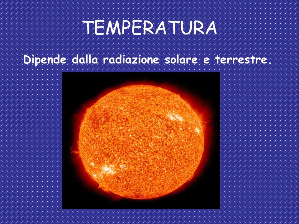 TEMPERATURA Dipende dalla radiazione solare e terrestre.