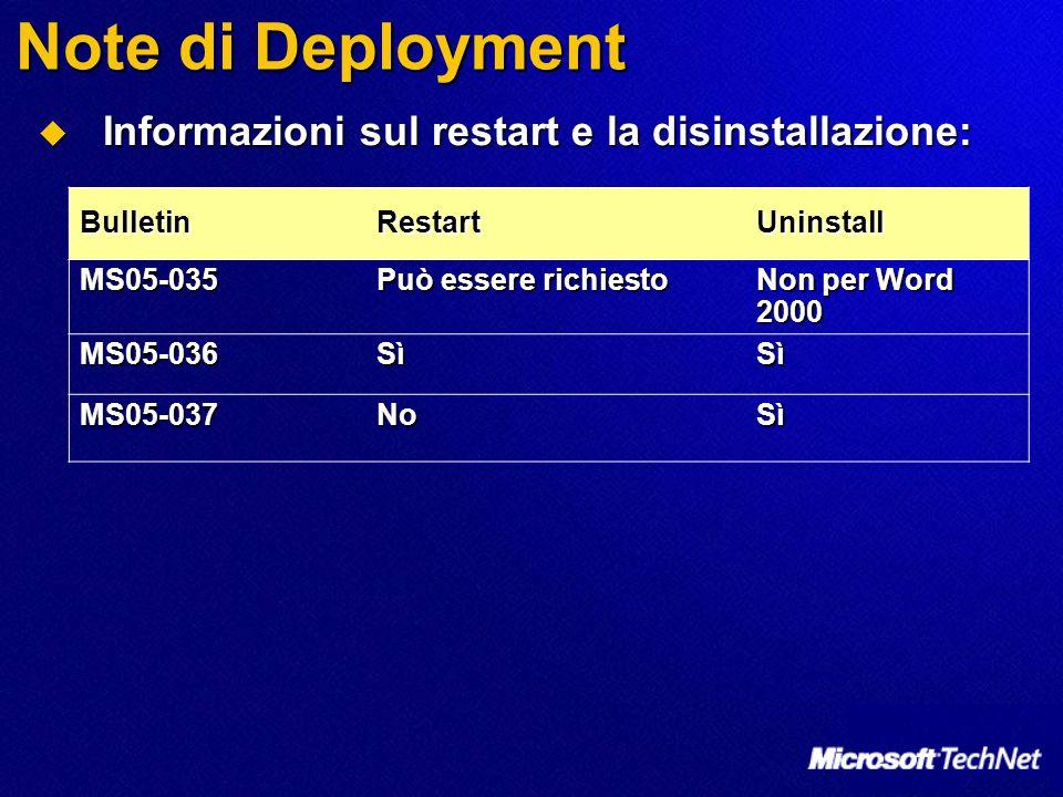 Note di Deployment  Informazioni sul restart e la disinstallazione: BulletinRestartUninstall MS05-035 Può essere richiesto Non per Word 2000 MS05-036SìSì MS05-037NoSì