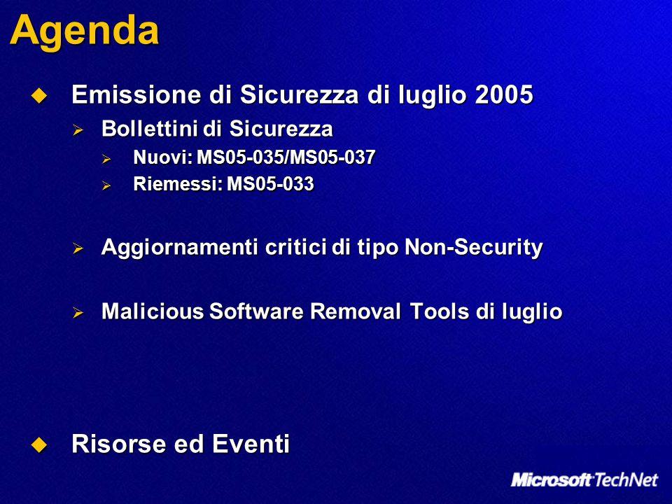 Agenda  Emissione di Sicurezza di luglio 2005  Bollettini di Sicurezza  Nuovi: MS05-035/MS05-037  Riemessi: MS05-033  Aggiornamenti critici di ti