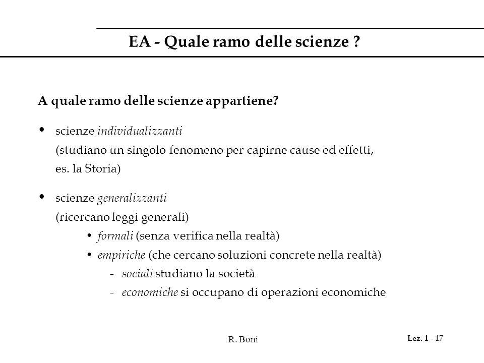 R.Boni Lez. 1 - 17 EA - Quale ramo delle scienze .
