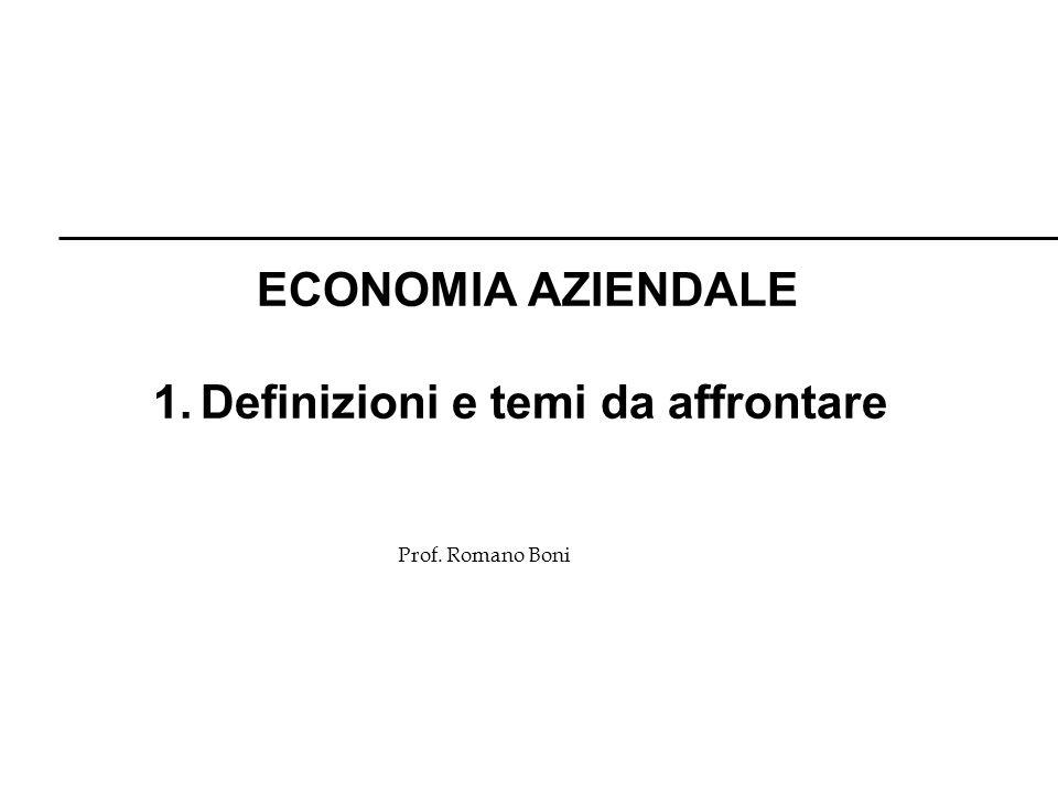 R. Boni Lez. 1 - 20 Prof. Romano Boni ECONOMIA AZIENDALE 1. Definizioni e temi da affrontare