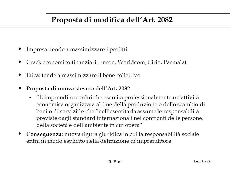 R.Boni Lez. 1 - 24 Proposta di modifica dell'Art.