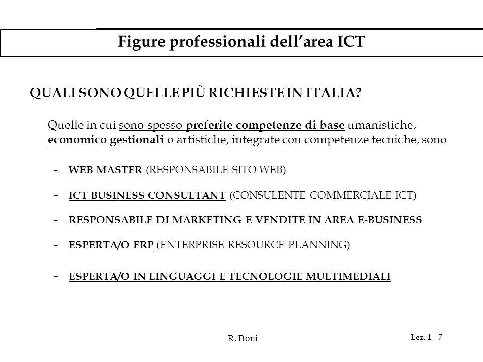 R.Boni Lez. 1 - 7 Figure professionali dell'area ICT QUALI SONO QUELLE PIÙ RICHIESTE IN ITALIA.