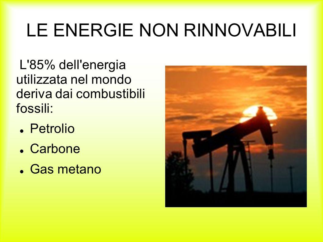 LE ENERGIE NON RINNOVABILI L'85% dell'energia utilizzata nel mondo deriva dai combustibili fossili: Petrolio Carbone Gas metano