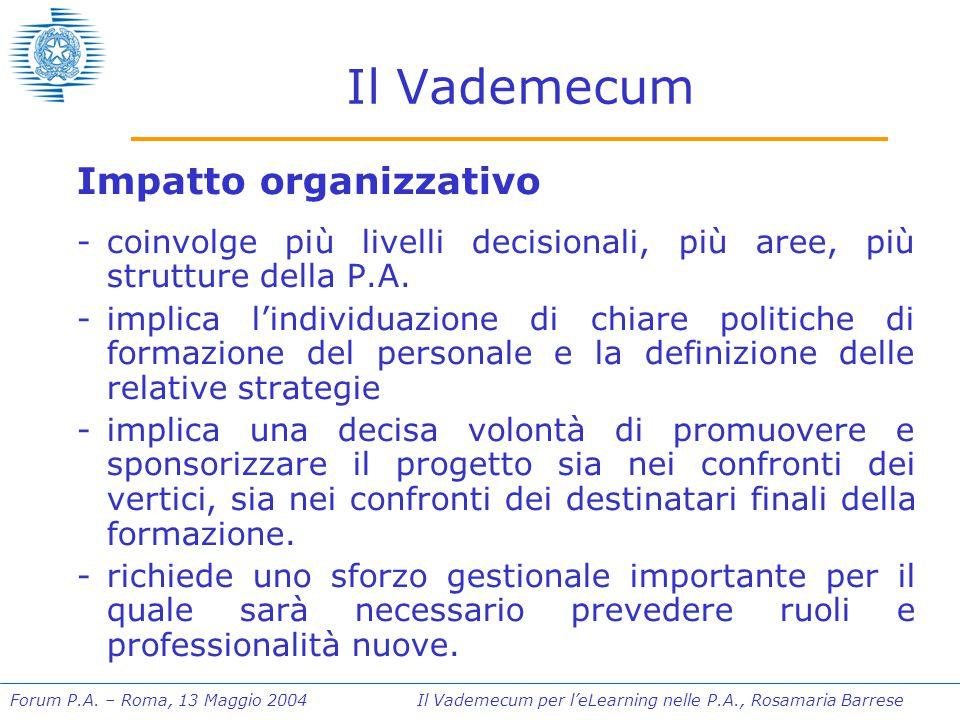 Forum P.A. – Roma, 13 Maggio 2004 Il Vademecum per l'eLearning nelle P.A., Rosamaria Barrese Il Vademecum Impatto organizzativo -coinvolge più livelli