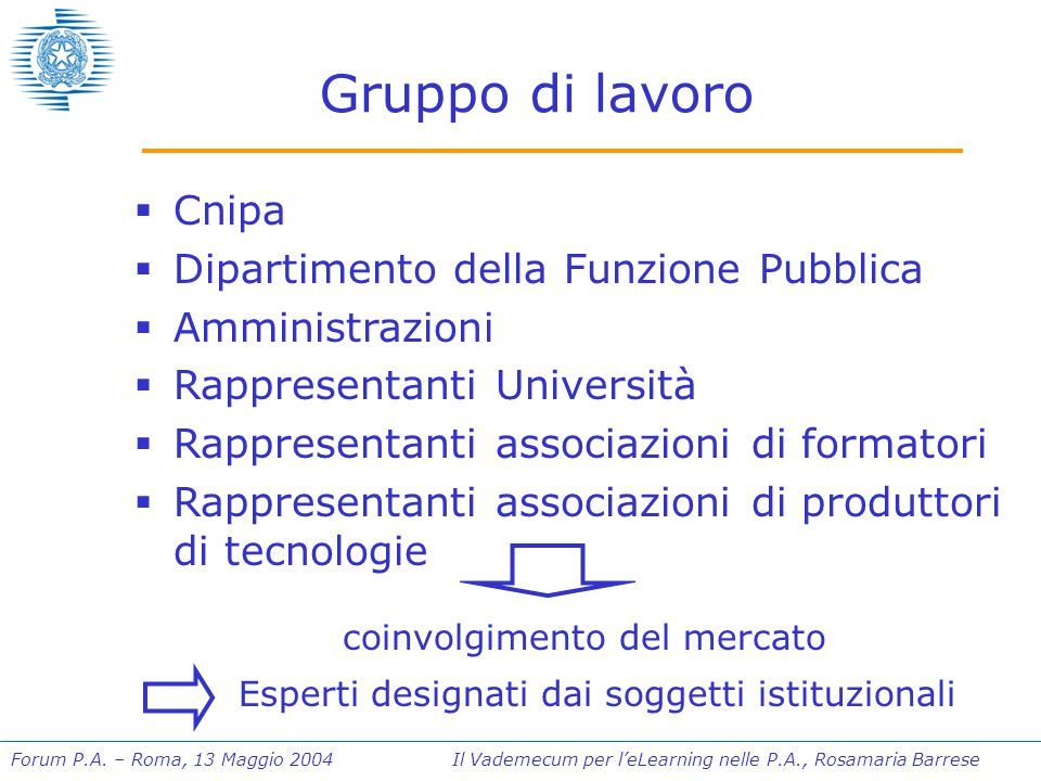 Forum P.A. – Roma, 13 Maggio 2004 Il Vademecum per l'eLearning nelle P.A., Rosamaria Barrese Gruppo di lavoro  Cnipa  Dipartimento della Funzione Pu