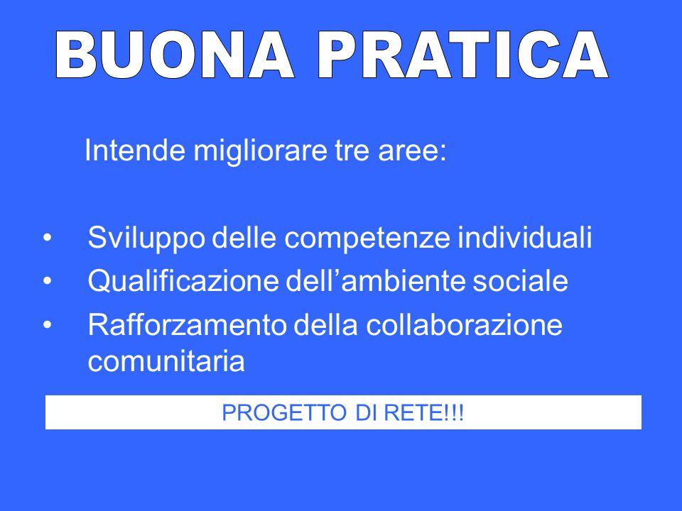 Intende migliorare tre aree: Sviluppo delle competenze individuali Qualificazione dell'ambiente sociale Rafforzamento della collaborazione comunitaria PROGETTO DI RETE!!!