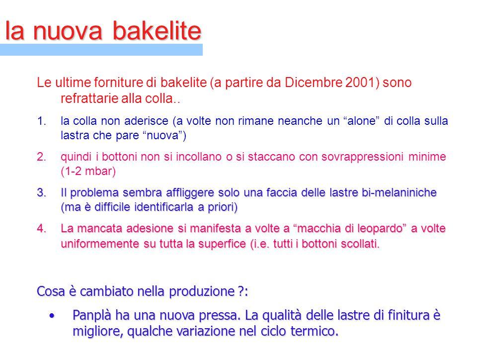 la nuova bakelite Le ultime forniture di bakelite (a partire da Dicembre 2001) sono refrattarie alla colla.. 1.la colla non aderisce (a volte non rima