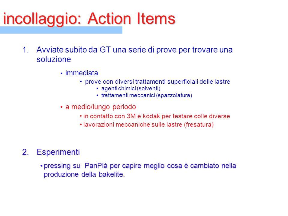 incollaggio: Action Items 1.Avviate subito da GT una serie di prove per trovare una soluzione  immediata prove con diversi trattamenti superficiali d