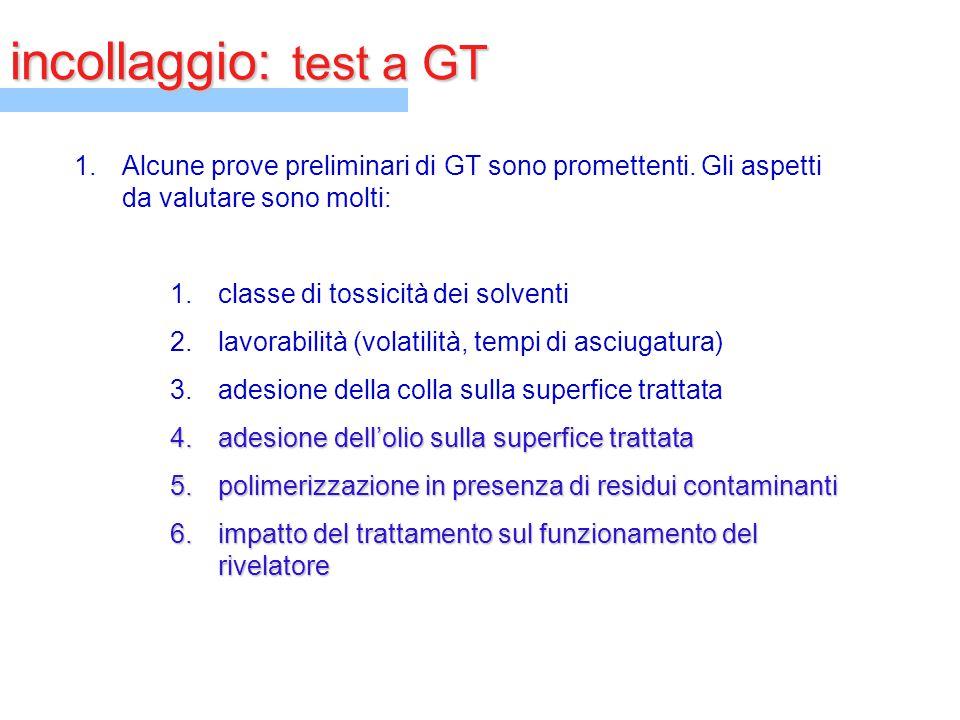 incollaggio: test a GT 1.Alcune prove preliminari di GT sono promettenti. Gli aspetti da valutare sono molti: 1.classe di tossicità dei solventi 2.lav